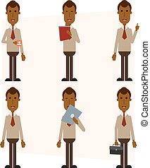 African American businessman with a laptop, mug, portfolio, tablet, and a folder with papers