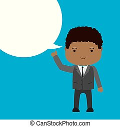 African american Businessman with bubble speech