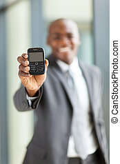 african american businessman with smart phone