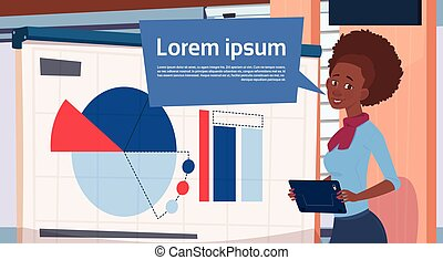 African American Businesswoman Holding Presentation Stand Over Board With Charts And Graph Business Woman Seminar Or Report Meeting