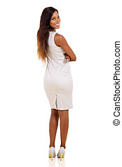 african american businesswoman looking back