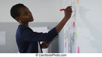 African american businesswoman thinking and making notes on whiteboard. independent creative business at a modern office.