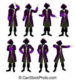 African American Captain Hook Silhouette Illustration -...