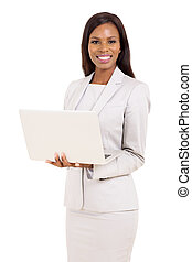 african american career woman using laptop
