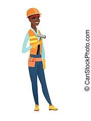 African-american carpenter holding a hammer.