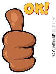 African American Cartoon Hand Giving Thumbs Up Gesture