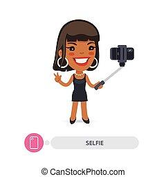 African American Cartoon Selfie Girl with Smartphone