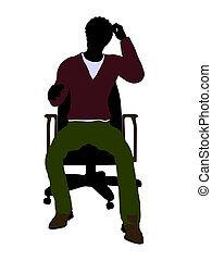 African American Casual Man Sitting On A Chair Illustration...