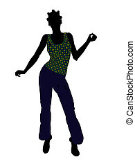 African American Casual Woman Illustration Silhouette