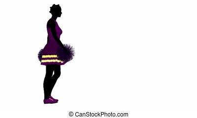 African american female cheerleader walking on a white background