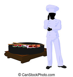 African American Chef Art Illustration Silhouette
