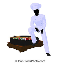 African American Chef Art Illustration Silhouette - African...
