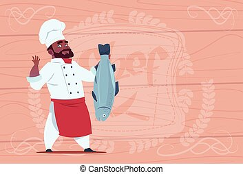 African American Chef Cook Hold Fish Smiling Cartoon Restaurant Chief In White Uniform Over Wooden Textured Background