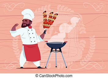 African American Chef Cook Hold Kebab Smiling Cartoon Restaurant Chief In White Uniform Over Wooden Textured Background