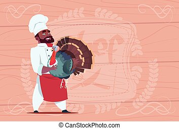 African American Chef Cook Hold Turkey Smiling Cartoon Restaurant Chief In White Uniform Over Wooden Textured Background