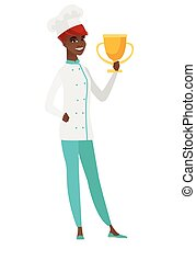 African-american chef cook holding a trophy.