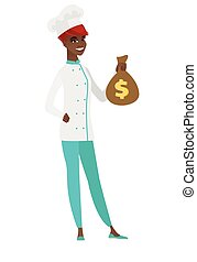 African-american chef cook holding a money bag.