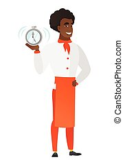 African-american chef cook holding alarm clock.