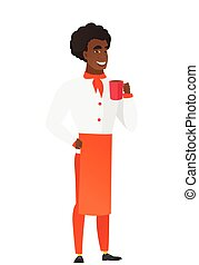 African-american chef cook holding cup of coffee.