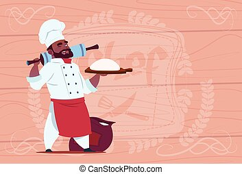 African American Chef Cook Holding Flour And Dough Smiling Cartoon Chief In White Restaurant Uniform Over Wooden Textured Background