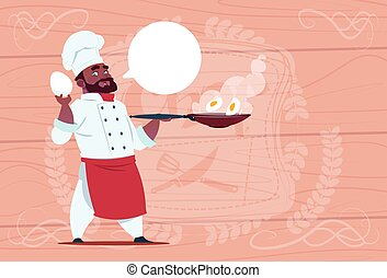 African American Chef Cook Holding Frying Pan With Eggs Smiling Cartoon Chief In White Restaurant Uniform Over Wooden Textured Background