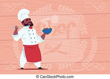 African American Chef Cook Holding Plate With Hot Soup Smiling Cartoon Chief In White Restaurant Uniform Over Wooden Textured Background