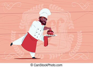 African American Chef Cook Holding Dessert Dish Smiling Cartoon Chief In White Restaurant Uniform Over Wooden Textured Background