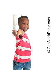 African American child black bulb