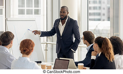 African american coach talking to audience giving presentation on flipchart