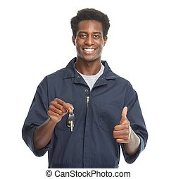 african - american, coche, mechanic.
