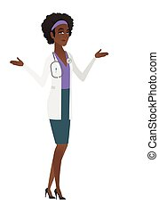 African-american confused doctor with spread arms.