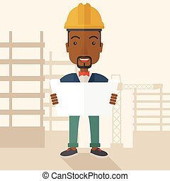 African-american Construction worker holding the plan.