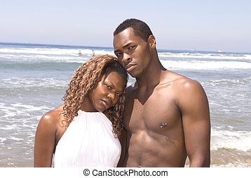 African American Couple at Beach
