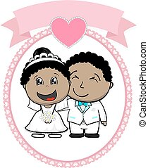 cartoon illustration of afroamerican bride and groom with white suit on round frame whit heart and empty banner isolated on white background, ideal for funny wedding invitation