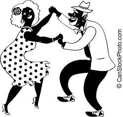 African-American couple dancing