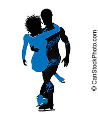 African American Couple Ice Skating Silhouette - African...
