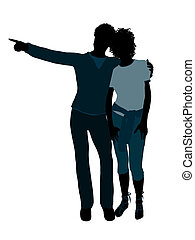 African American Couple Illustration Silhouette