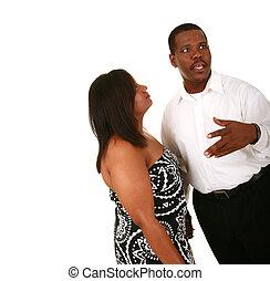 African American Couple Man Explaining