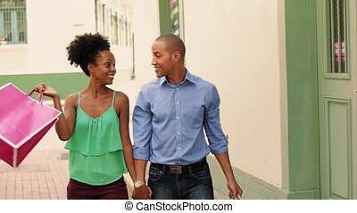 African American Couple Shopping In Panama City Slow Motion...