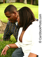African American Couple Talking On The Grass