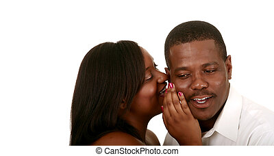 African American Couple Whispering