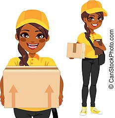 African American Courier - Young woman courier delivering...