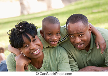 african american család, a parkban