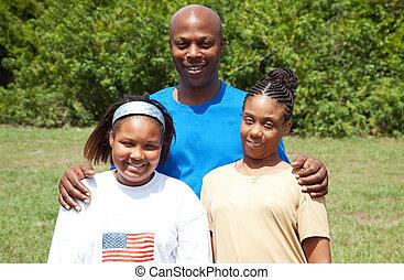 african-american, család, boldog