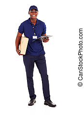 african american delivery guy with parcel and clipboard on...