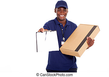 african american delivery man carrying parcel and presenting...