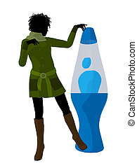 African American Disco Girl Silhouette Illustration -...