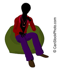 African American Disco Guy Silhouette Illustration - African...