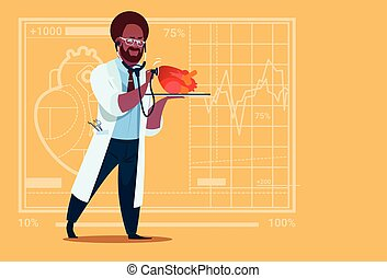 African American Doctor Cardiologist Examining Heart With Stethoscope Medical Clinics Worker Hospital