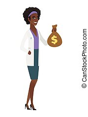 African-american doctor holding a money bag.
